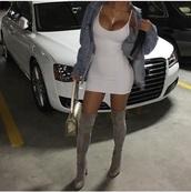 dress,white dress,mini dress,denim jacket,thigh high boots,cross necklace