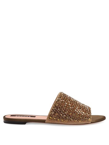 Rochas embellished satin khaki shoes