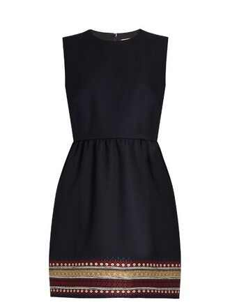 dress embroidered navy