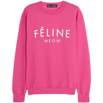 sweater pink white feline feline meow celine