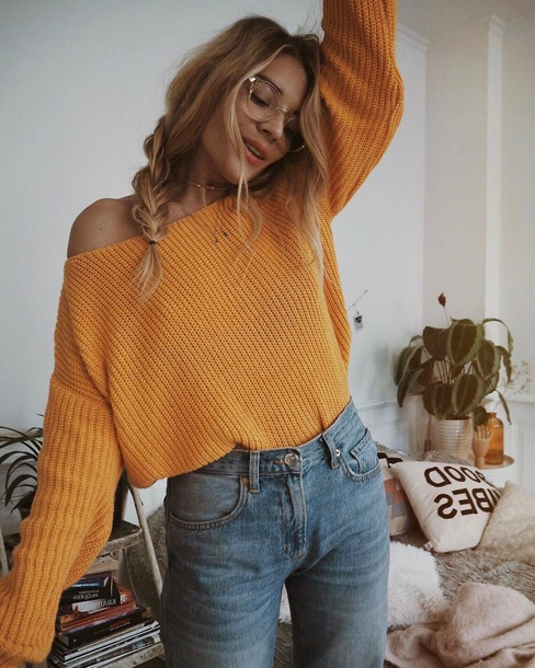 Sweater emily ratajkowski orange shirt yellow cozy crop mustard brand clothes yellow ...