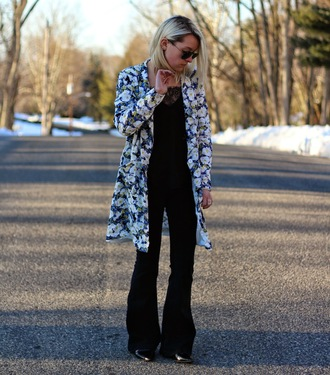 platinum and penniless blogger floral coat black pants flare pants jacket tank top jeans jewels kick flare