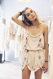 dress,earthy,romper,tumblr,vintage,boho,hippie,summer,cream,floral,cute,flowers,lace,strappy,silk,florals,boho cute dress