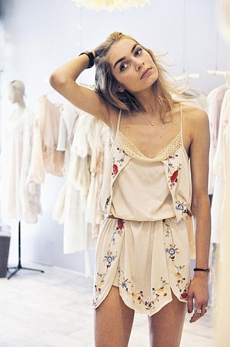 dress earthy romper tumblr vintage boho hippie summer cream floral cute flowers lace strappy silk florals boho cute dress
