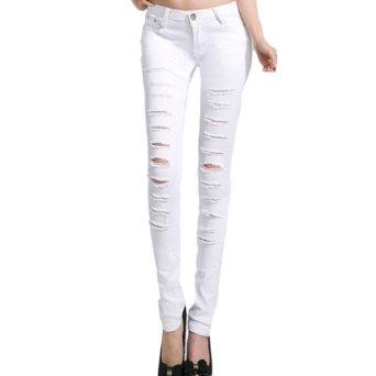hee grand femme pantalons trou jeans slim chinois 27 blanc v tements et accessoires. Black Bedroom Furniture Sets. Home Design Ideas