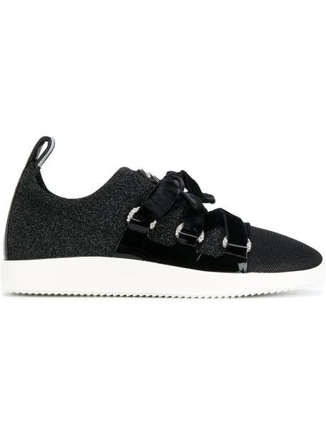 GIUSEPPE ZANOTTI DESIGN women sneakers lace leather black velvet shoes