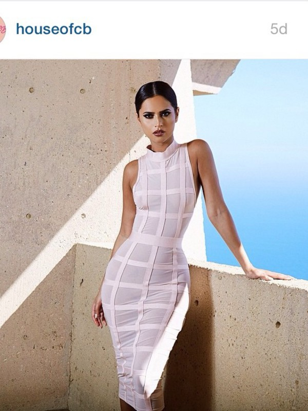 Clothing : Bandage Dresses : 'Marsha' Light Pink Bandage Dress ...
