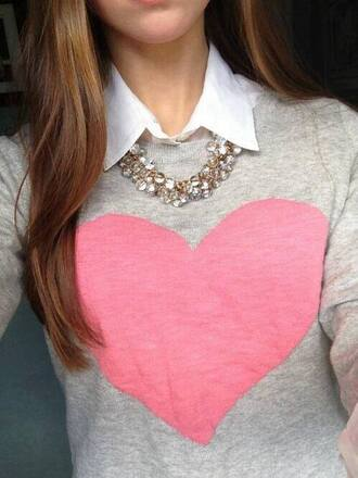 sweater heart necklace pink collar jewels heart sweater