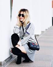 sweater,tumblr,sweatshirt,grey sweater,embellished,bag,black bag,embroidered,skirt,mini skirt,grey skirt,boots,black boots,over the knee boots,sunglasses,black sunglasses,fall outfits