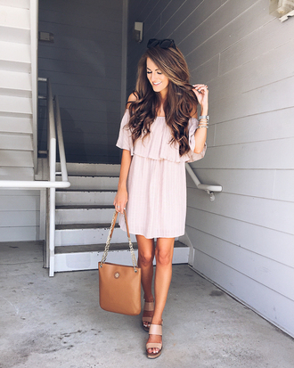 southern curls and pearls blogger shoes bag jewels off the shoulder pink light pink mini dress brown brown bag sandals nude heels wedges wedge sandals nude sandals off the shoulder dress nude dress summer dress black sunglasses summer outfits