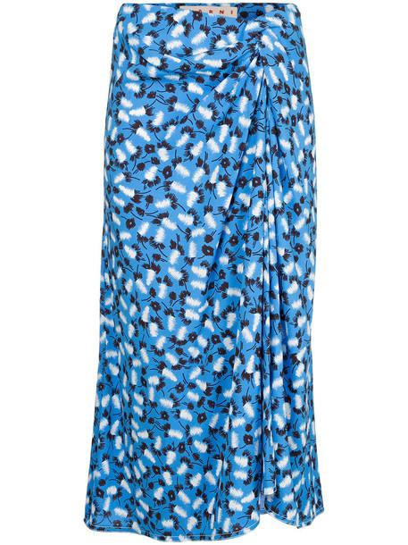 MARNI skirt midi skirt floral midi skirt women midi draped floral blue