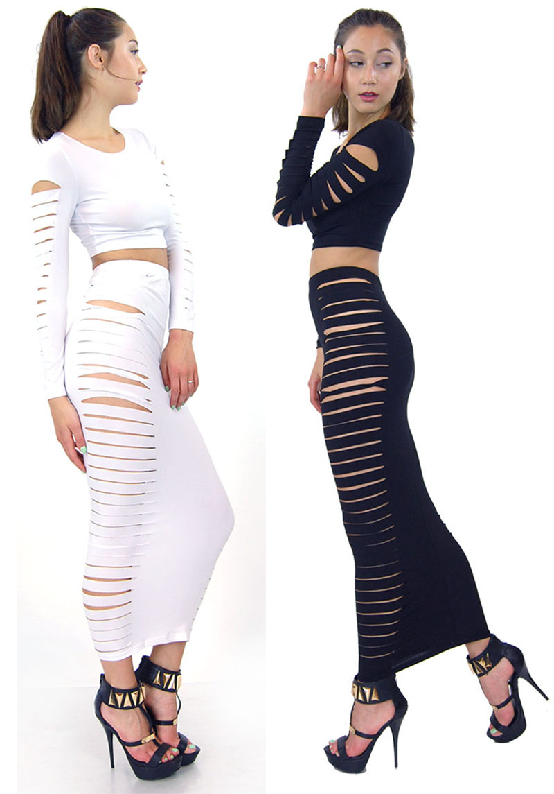 Slashed Cutted Destroyed Black White Sexy Club Stretchy Full Length Maxi Skirt | eBay