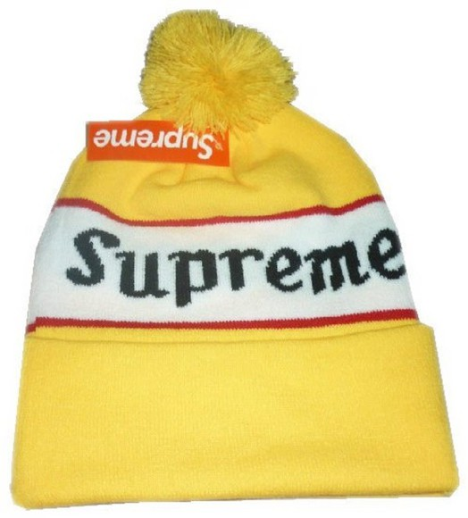 hat supreme unisex yellow beanie pom pom green red