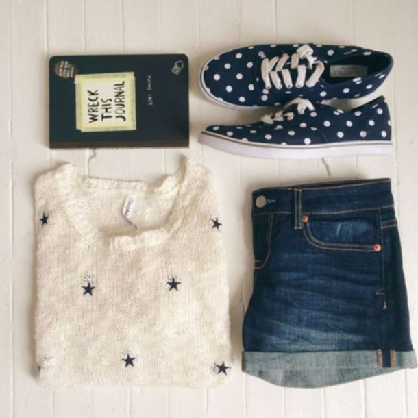 shoes polka dots jeans jumper stars white jumper dark blue shoes sweater blouse shorts summer outfits wreck this journal whte navy cute blue dark denim pale indie boho white black laces patterned sweater style blue shirt knitted sweater knitwear vans trainers denim shorts denim journal book writing dark shorts boho chic hipster shorts hipster tumblr outfit tumblr laceshoes summer shorts summer jumpsuit home accessory bag