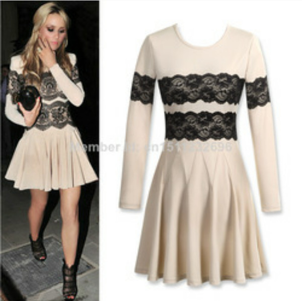 Cream color dress for plus women