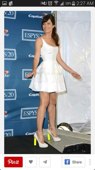jessica biel white dress scoop neck skater skirt