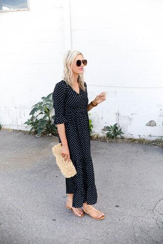 little miss fearless blogger dress bag shoes sunglasses make-up clutch maxi dress sandals flat sandals summer outfits