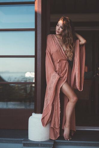 not jess fashion blogger pink dress long sleeve dress wrap dress