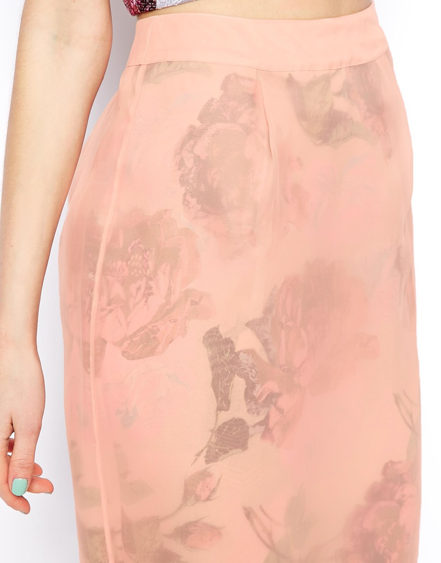 ASOS SALON Midi Skirt In Floral Organza at asos.com