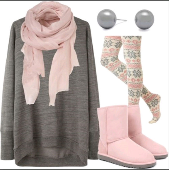 stockings sweater leggings cute outfit shoes pink grey scarf ugg boots pearl snowflake leggings silver winter outfits fall outfits