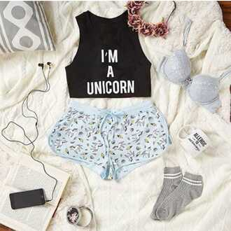 shorts crop crop tops fashion unicorn socks bra girly top underwear