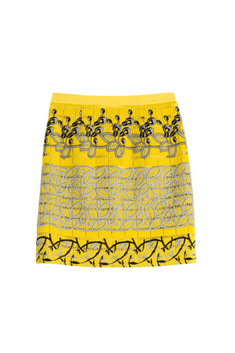 skirt embroidered yellow