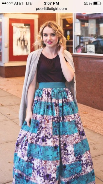 shirt full skirt maxi maxi skirt full skirt full maxi skirt spring fashion spring outfits blue pretty girly fluffy frilly
