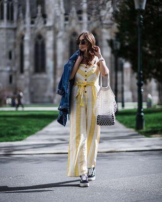 jumpsuit stripes yellow jumpsuit sneakers vans denim jacket bag denim sunglasses