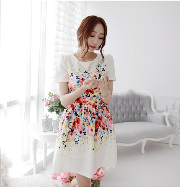 latest designs korean cute women clothes printed fashion