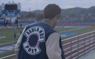 jacket badlands halsey blue color/pattern music badlands prep varsity jacket back to school tyler posey baseball jacket