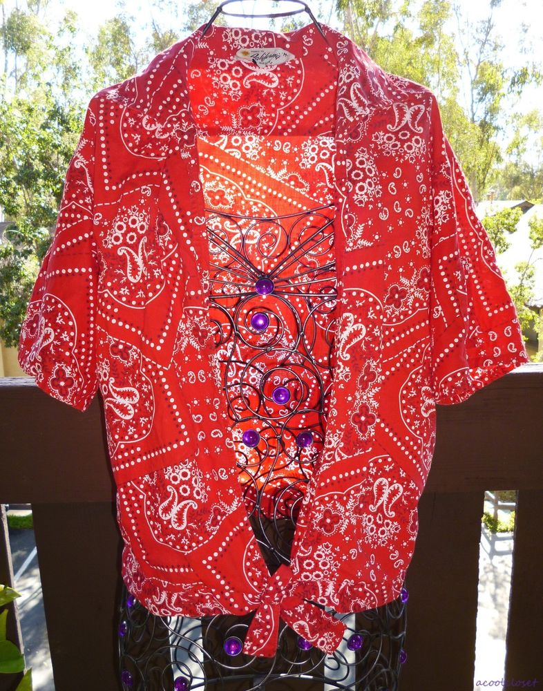 Bandana Paisley Print Vintage 60's Blouse Tie Front Crop Rockabilly Pin Up Top | eBay
