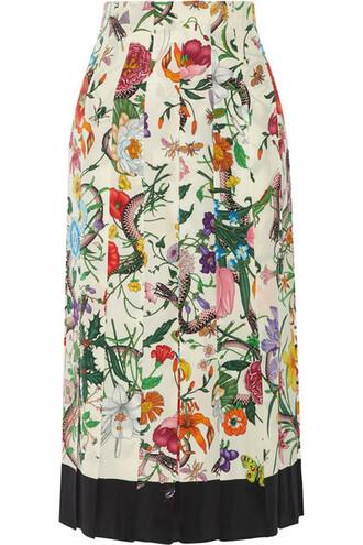 skirt midi skirt pleated midi floral print silk cream