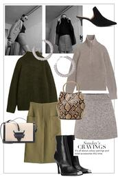 teetharejade,blogger,sweater,jewels,bag,skirt,shoes,fall outfits,green skirt,green sweater,black boots
