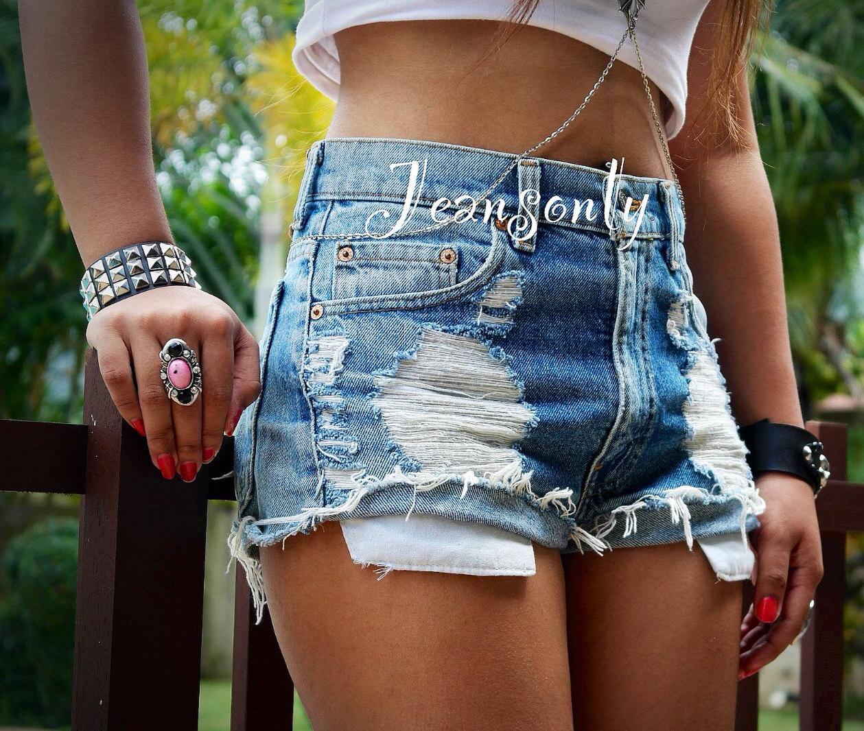 Hohe Taille Shorts notleidenden abgeschnitten Shorts Denim Grunge Hipster Tumblr von Jeansonly