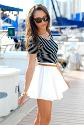 skirt,white skirt,skater skirt,white,classy,shirt