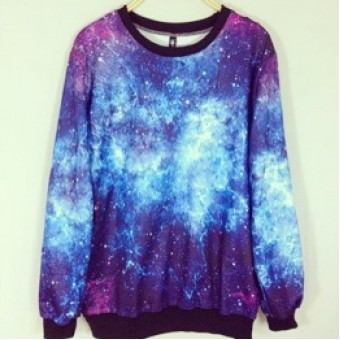 Blue and purple galaxy sweater