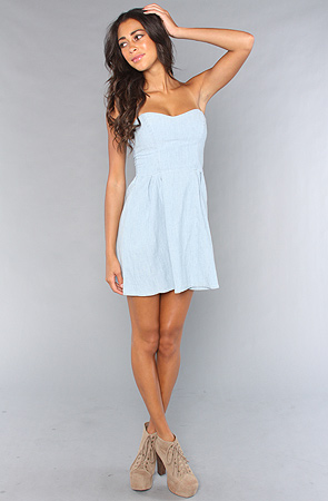 Rvca the rocket strapless bustier dress in light blue