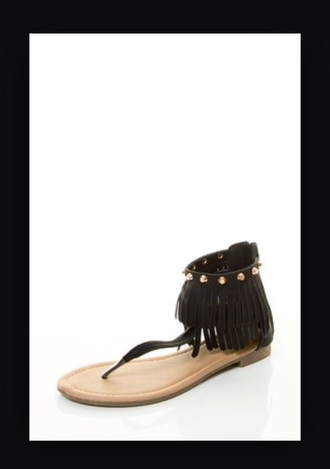 shoes sandals fringe black cute