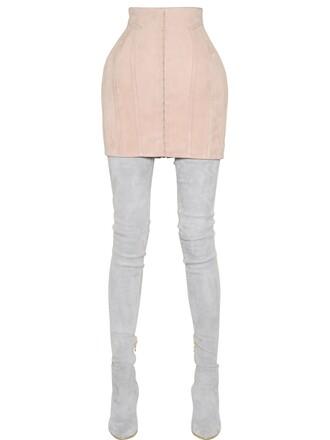 skirt mini skirt mini suede pink