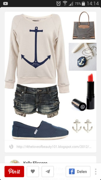 cream sweater anchor long sleeves love it!