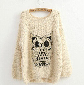 sweater clothes owl shirt white