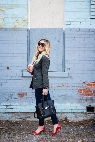 all dolled up blogger jacket sweater tank top sunglasses bag shoes red heels high heel pumps handbag skinny jeans