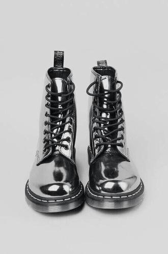 shoes metallic boots shiny
