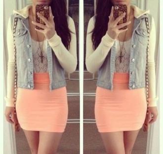 skirt pencil skirt light orange midi skirt orange skirt tight skirt