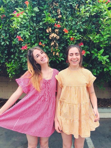 dress dodie clark shannon barry yellow yellow dress mini dress plaid cute cute dress dodie red red dress