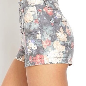shorts high waisted shorts flowered shorts