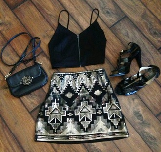 skirt aztec skirt sequin skirt black silver shoes