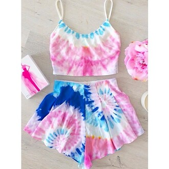 jumpsuit tie dye shirt tie dye tie dye top tie dye shorts tumblr outfit tumblr shirt tumblr shorts summer top summer shorts romper dream closet couture
