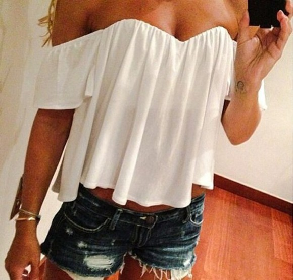 top off the shoulder white top white blouse strapless top