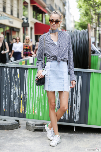 le fashion image blogger top shoes blogger style skirt tumblr mini skirt denim denim skirt shirt gingham sunglasses sneakers stan smith white sneakers low top sneakers streetstyle fashion week 2017 high neck adidas